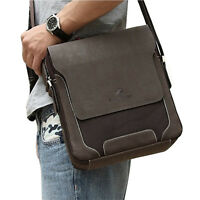 Men's Large Canvas PU Leather Briefcase Office Shoulder Messenger Bag Tablet Bag