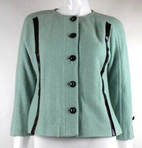 St-John-Couture-Mint-Green-Black-Leather-Trim-Long-Sleeve-Button-Knit-Blazer-6