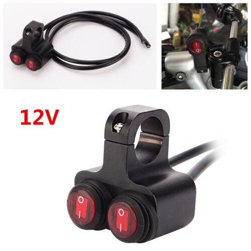 12v Motorcycle ATV 7//8/'/' Handlebar Red Light 2 Way Headlight Waterproof Switches