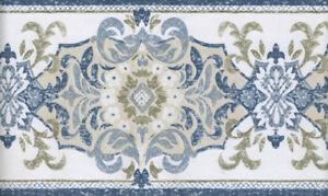 blue damask design wallpaper border ebay