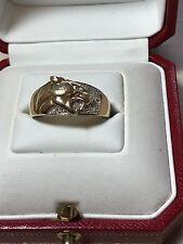 9ct. 9k. 375. Yellow Gold, Diamond Panther Ring Size U. U.S. Size 10.5.