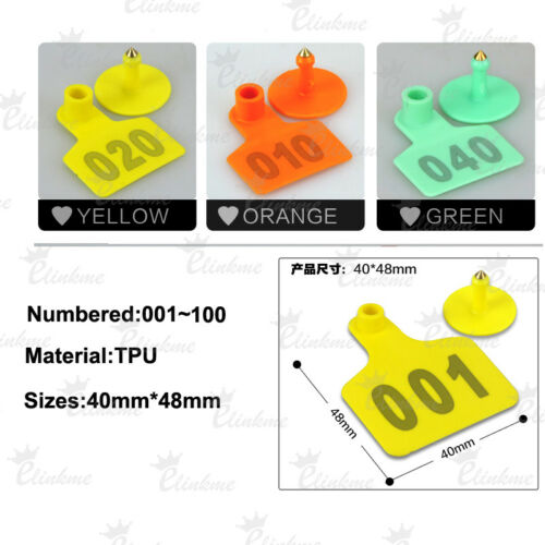 001-100 100pcs Sheep Pig Cow Ear Tag Numbers blank EarTag Animal Tag