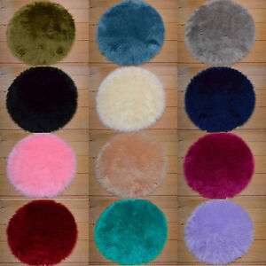 Circle Plain Soft Fluffy Bedroom Faux Fur Fake Sheepskin