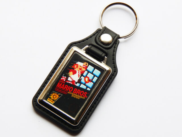 MARIO BROS Nintendo NES Cover Art Quality Chrome And Leather Keyring