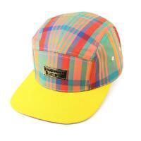 Men's Summer Cotton Plaid 5 Panel Snapback Cadet Cap Hat Leather Strap Yellow