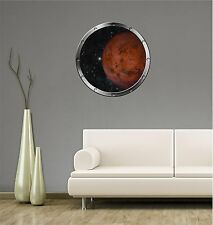 """24"""" Porthole Space Ship Window PLANET MARS #1 SILVER Wall Decal Sticker Graphic"""