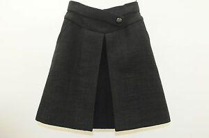 2650-15P-New-CHANEL-RUNWAY-BLACK-Cotton-Tweed-Inverted-Pleat-Full-Skirt-38
