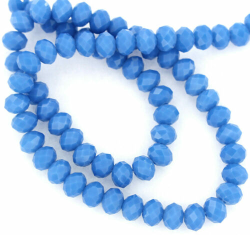 BD695 25 Opaque Crystal Glass Beads Faceted Rondelles 8mm x 6mm