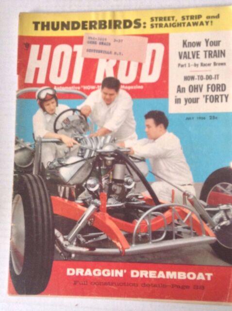 Hot Rod Magazine Draggin' Dreamboat Thunderbirds July 1956 042517nonrh