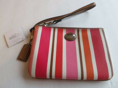 Coach Pink Orange Multicolor Stripe Small Wristlet Wallet Bag Purse Clutch F5169