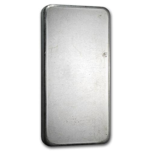 - SKU #70059 10 oz Silver Bar Johnson Matthey Pressed, Plain Back