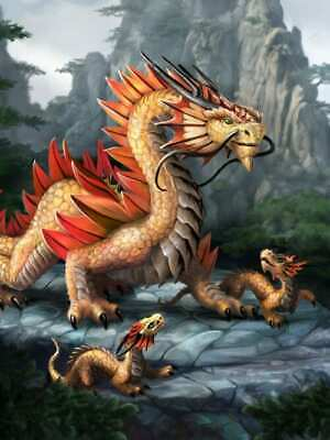 3D FANTASY PICTURE PRINT 300mm x 400mm ANNE STOKES ART GOLDEN MOUNTAIN DRAGON