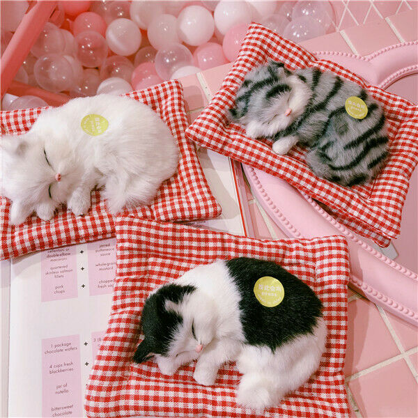 Cat Kitty White Hairy Simulation Curled Sleeping Cute Room Decoration Gift Be