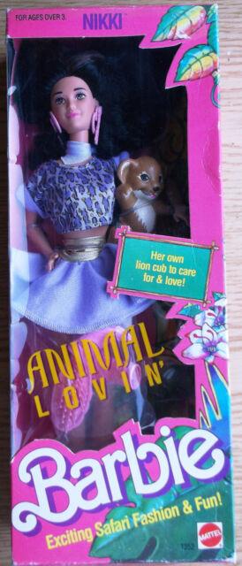 Vintage Animal Lovin Barbie Nikki Doll NRFB Lion 1352 Mattel Safari 1988 MInt
