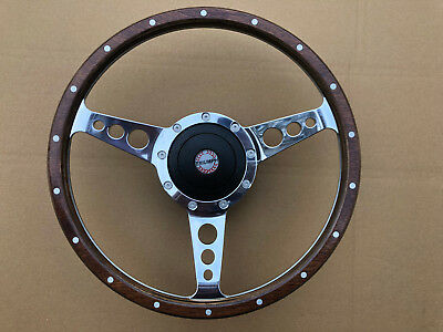 """Triumph Stag Dolomite 2000 Traditional Polished Alloy Wood 14/"""" Steering Wheel"""