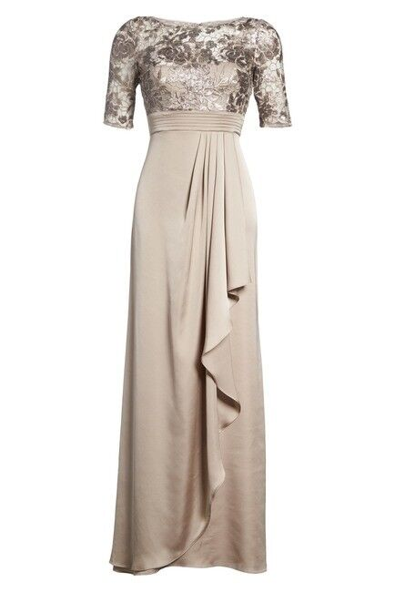 379 ADRIANNA PAPELL WOMEN'S BEIGE FLORAL LACE SEQUIN FORMAL DRESS GOWN DRESS 2