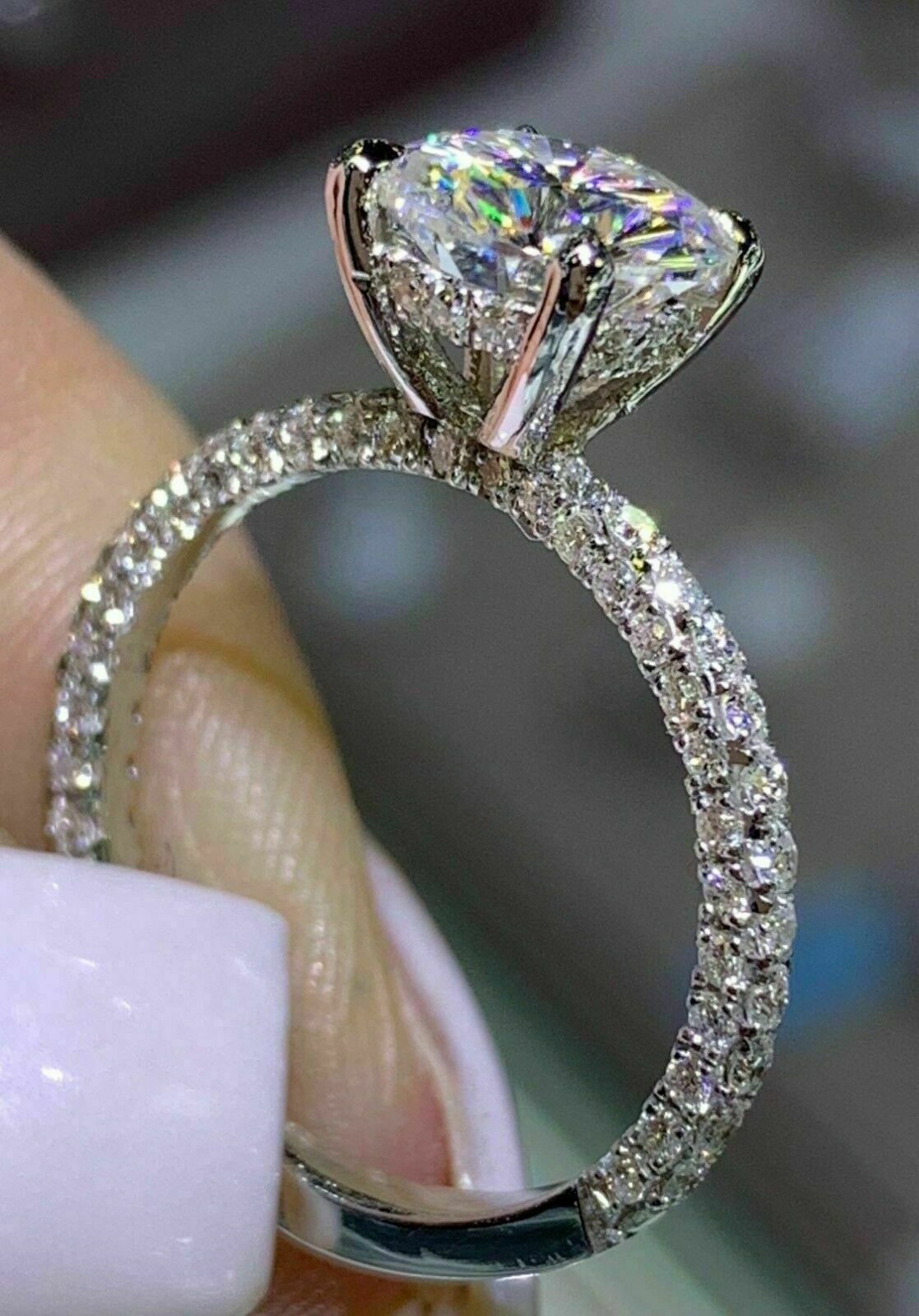 2.00 Ct Round Cut Diamond Solitaire Engagement Ring 14K White Gold Over
