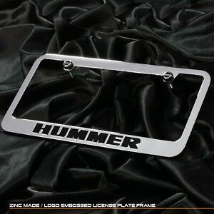 New chrome license plate Hummer Black words cast zinc frame front rear