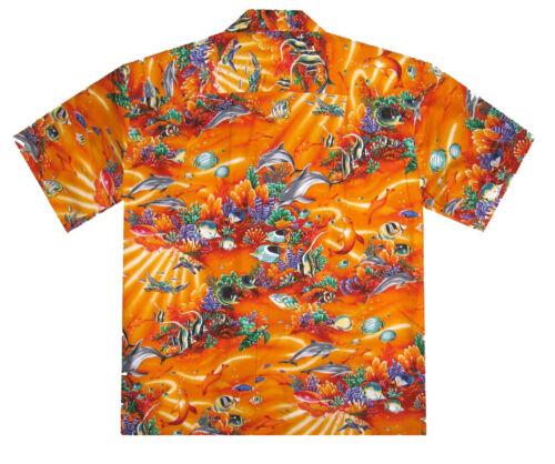 Ky /'s originale Hawaii Camicia ACQUARIO raggi ARANCIONE