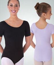 Body Wrappers BWP222 Black Women's Medium (8-10) Short Sleeve Ballet Cut Leotard