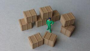 Lot-10-grandes-caisses-Ech-1-87-HO-decor-train-diorama-entrepot-quai-maquette