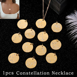 Zodiac-Pendant-Gold-Chain-Constellation-Zirconia-Necklace-Stainless-Steel