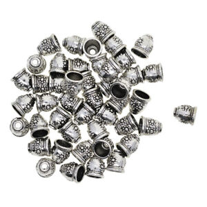 30pcs 8mm Silver Tassel End Caps Beads Stopper DIY Jewelry Making Findings