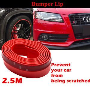 Car-Front-Bumper-Lip-Skirt-Protector-Splitter-Body-Spoiler-Rubber-Universal-Red
