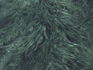 Tissu Fausse Fourrure Super Luxueuse Matière - De Long Shaggy Vert Bouteille