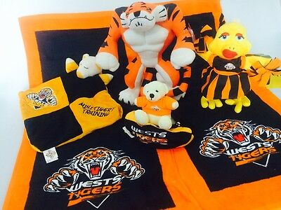 NRL Wests Tigers Hand Towl Mascot Football Supporter Teddys Toy Christmas Pack