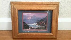 """Vintage Ocean Shore Light House Art Print Picture Massive  Wood Frame 9""""x7"""" EUC"""