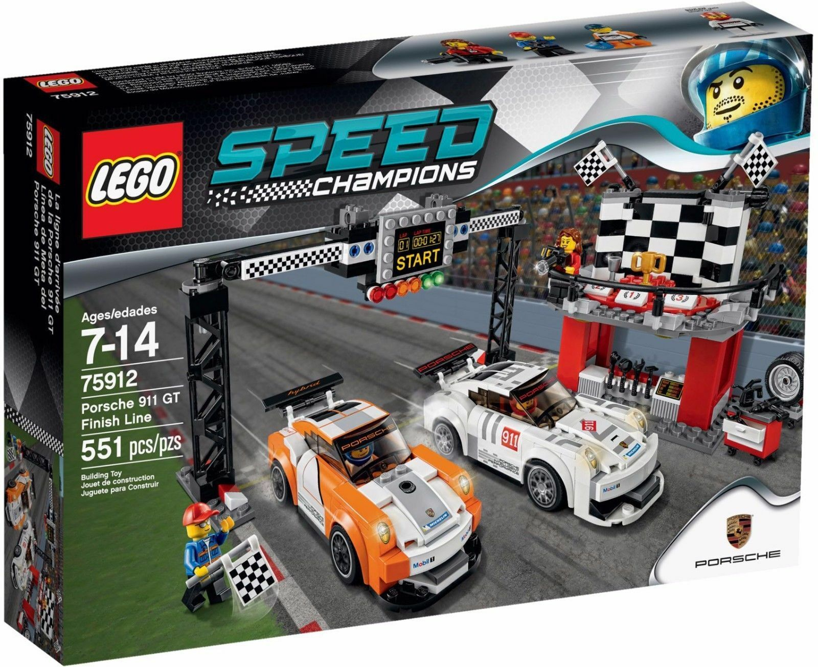 Lego 75912 City-Speed Champions Porsche 911GT Finish Line-Race Retraité Neuf