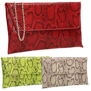 Women-Ladies-Snakeskin-Faux-Leather-Red-Green-Nude-Party-Prom-Wedding-Clutch-Bag