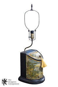 Beautiful Antique Metal Toleware Lamp Flour Bin Canister Toleware Decorative Arts