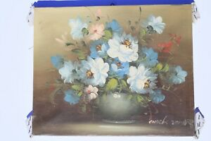 VINTAGE-FRENCH-OIL-ON-CANVAS-PAINTING-IMPRESSIONIST-STILL-LIFE-FLOWERS-SIGNED