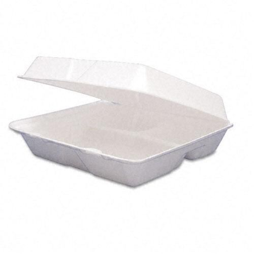 """HP4 200-10/"""" Meal Box 3 Section White Foam Polystyrene Containers FP3 HP3"""