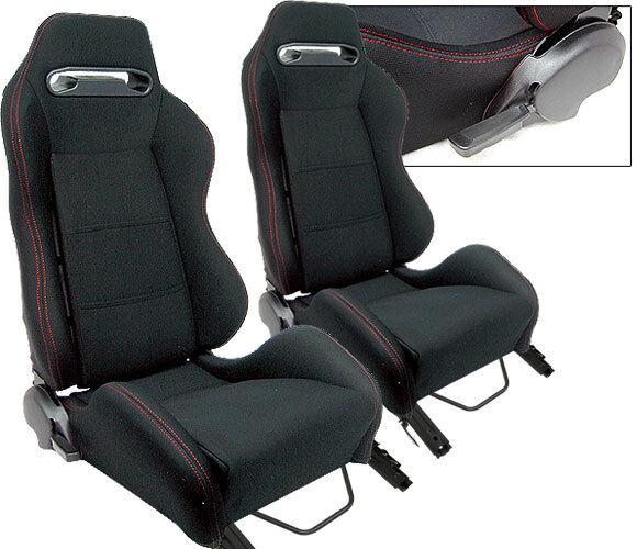 2 BLACK CLOTH + RED STITCH RACING SEATS RECLINABLE + SLIDERS PONTIAC NEW **