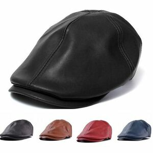 Lady-Men-Leather-Flat-Ivy-Cap-Women-Newsboy-Gatsby-Bonnet-Cabbie-Golf-Beret-Hat