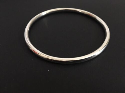 Genuine 925 Sterling Silver Bangle Bracelet Classic Slip On Round 4mm