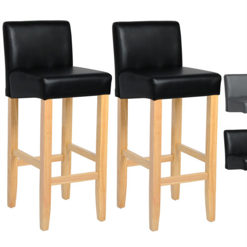 Barhocker 2 x Bistrohocker Barstuhl mit Rückenlehne Kunstleder//Leinen Holz #791