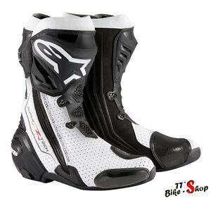 Alpinestars-034-Supertech-R-034-Sport-Motorradstiefel-Schwarz-Weiss-Groesse-44-Vented