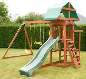Outdoor Swing Set Rockwall Wooden Climbing Frame Children Slide