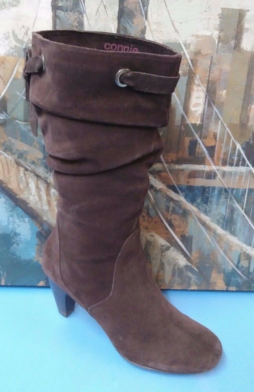 CONNIE WOMEN'S SEXY BROWN  HEEL MIDCALF  BOOTS SIZE 9.5 M