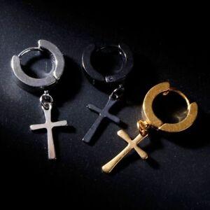 1pc-Cross-Earring-Stainless-Steel-Punk-Men-Stud-Drop-Earrings-Fashion-Jewelry