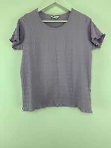 126957af4df10 Womens Damart T-shirt Top Blouse Violet Color Crew Neck Size 16/18 ...
