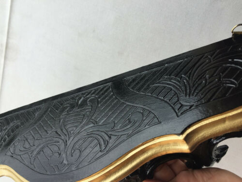 Wandkonsole Antik Schwarz-gold Spiegelkonsolen BAROCK Wandregal ANTIK 45x21x13