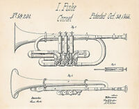 1866 Fiske Cornet Patent Drawing Art Print Gift Ideas For Brass Player Blueprint