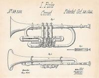 1866 Fiske Cornet Patent Drawing Art Print Gift Ideas For Brass Player Blueprint
