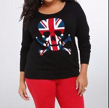 Torrid Rebel Skull Union Jack Raglan Black Sweater Size: 2 2X  #23104