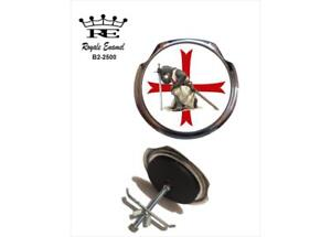 Royale Classic Car Grill Badge + Fittings - PRAYING KNIGHT ENGLAND - B2.2500